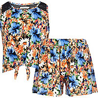 Girls orange floral top and short set