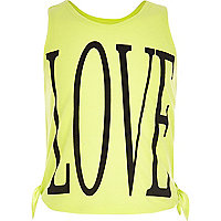 Girls lime love double side tie vest