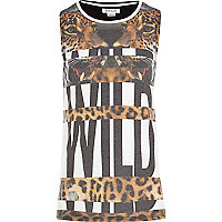 Girls white wild leopard print t-shirt