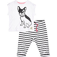 Mini girls puppy t-shirt and stripe joggers