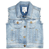 Mini girls light denim gilet jacket