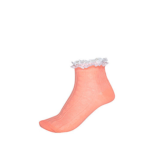 Girls coral and white frill top socks