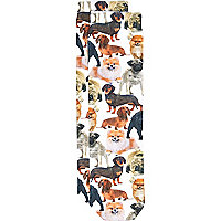 Girls white dog photo print socks