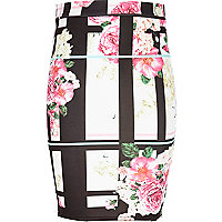 Girls cream floral and check tube skirt