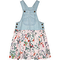 Mini girls denim and tropical hybrid dress
