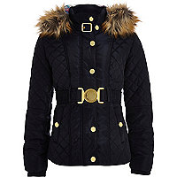 Girls navy padded and belt coat