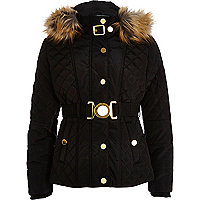 Girls black belt quilted coat