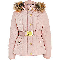 Girls pink belt quilted jacket