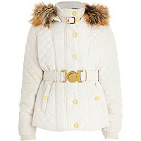 Girls white belt quilted coat