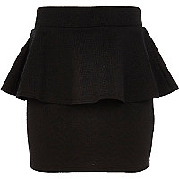 Girls black zig zag peplum skirt