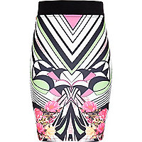 Girls pink geo floral tube skirt