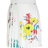 Girls white floral print pleated skirt
