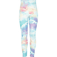 Girls blue cloud print leggings