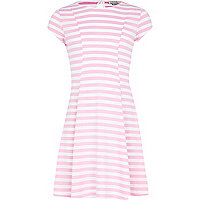 Girls pink stripe fit and flare dress