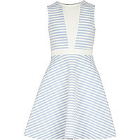 Girls blue stripe fit and flare dress