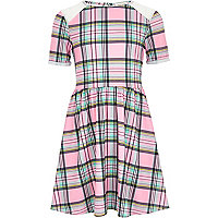 Girls pink check dress