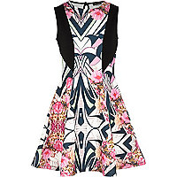 Girls pink geo floral fit and flare dress