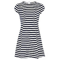 Girls navy stripe fit and flare dress