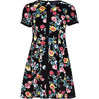 Girls black floral fit and flare dress