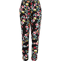Girls black floral print trousers