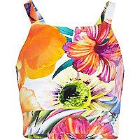 Girls orange floral print strappy crop top