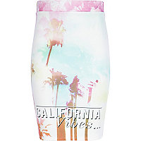 Girls blue California vibes print tube skirt