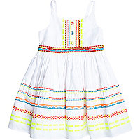 Mini girls white fluro embroidered dress