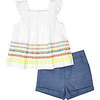 Mini girls white top and shorts set