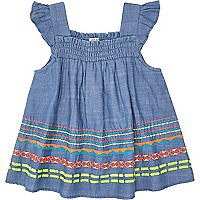 Mini girls blue fluro embroidered smock top