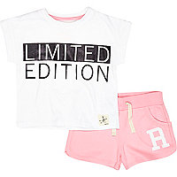 Mini girls Limited Edition and pink short set