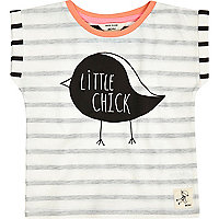 Mini girls white stripe little chick t-shirt