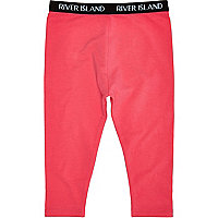 Mini girls pink plain leggings