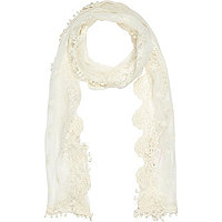 Girls cream lace embroidered scarf