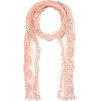 Girls pink lace embroidered scarf