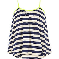 Girls blue stripe double layer cami vest