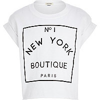 Girls white New York boutique crop t-shirt