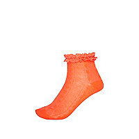 Girls neon coral frill top socks