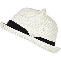Girls cream straw hat with ears