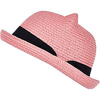 Girls pink straw hat with ears