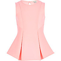 Girls pink box pleat peplum top