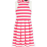 Girls pink stripe embellished skater dress