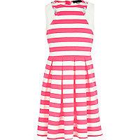Girls pink stripe embellished skater dress