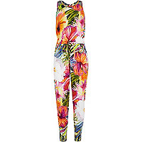 Girls orange tropical print jumpsuit