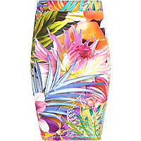 Girls orange tropical floral print tube skirt