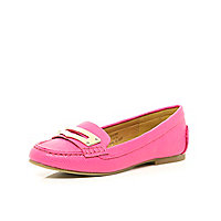 Girls pink loafer shoes