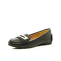 Girls black loafer shoes