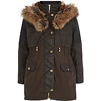 Girls khaki waxed fur parka coat