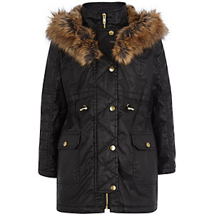 Girls black waxed fur parka coat