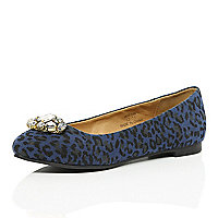 Girls blue animal print ballerina shoe