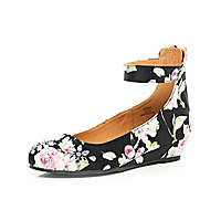 Girls black floral ballerina wedge